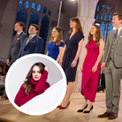A picture of an octet at Thaxted Parish Church: Voces8. Inset: A woman in red - Laura van der Heijden