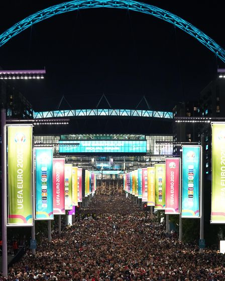 England fans leave Wembley Stadium, along Wembley way after England qualified for the Euro 2020 fina