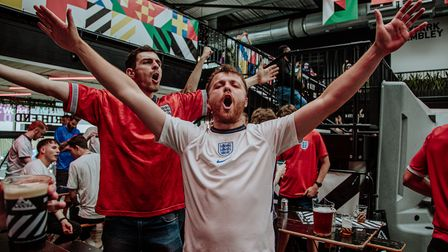 Getting into the spirit of the Euro 2020 semi-final between England and Denmark at Boxpark Wembley pre match