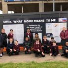 Year 6 pupils from Oughton Primary and Nursery added a splash of colour to the John Barker Place development in Hitchin
