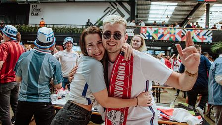 Fans at Boxpark Wembley ahead of England's victory against Denmark