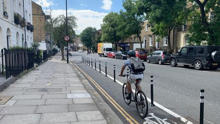 The cycle lanes in Liverpool Road, Islington