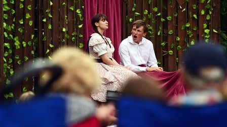 Two actirs on stage: Live performance of 'The Secret Garden' at Cliveden, Buckinghamshire