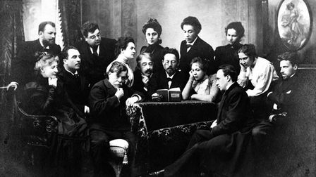 Anton Chekhov, in the centre, reads a scriptto actors from the Moscow State Art Theatre in 1898
