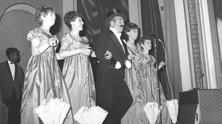 Old Tyme Music Hall - opens at the Gorleston Pavilion - Chairman Eddie Reindeer and the girls pic