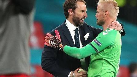 England manager Gareth Southgate shakes hands with Denmark goalkeeper Kasper Schmeichel after the UE