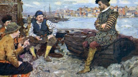 A painting of Shakespeare talking to some of Walter Raleigh's men, who have returned from the Spanish Main