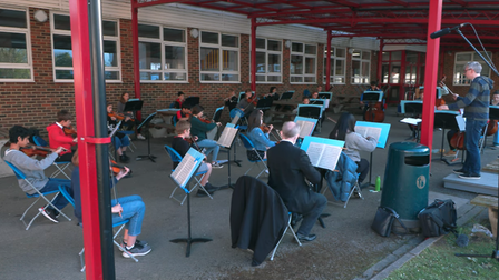 Philomusica of St Albans Music School rehearsing for their performance.