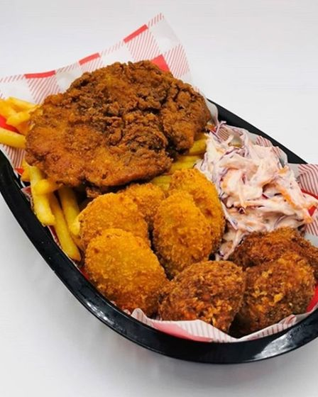 A vegan chicken basket is one of the items available from Hank's Dirty Ipswich