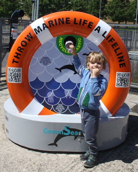 The official opening of the marine conservation bin at Portishead's marina.