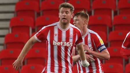Nathan Collins of Stoke City celebrates scoring his side's 2nd goal during the Sky Bet Championshi