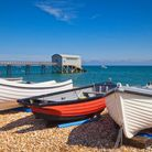 Selsey Bill, on the coast of West Sussex, England, with boats and the Lifeboat Station.