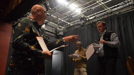 Rehearsals are under way forSheringham Little Theatre's production of Our Town. From left,