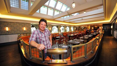 Jamie Oliver in his Italian restaurant in Norwich Royal Arcade back in its opening year (2012). Ph