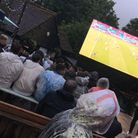Fans watching the football at Ye Olde Fighting Cocks in St Albans