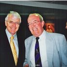 Roger Mann with John Major at the book launch at the Oval