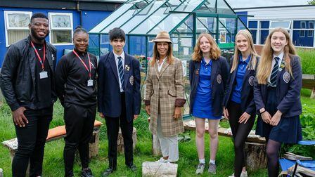 Helen Grant, the PM's special envoy for girls' education, visits Sir John Lawes School in Harpenden.