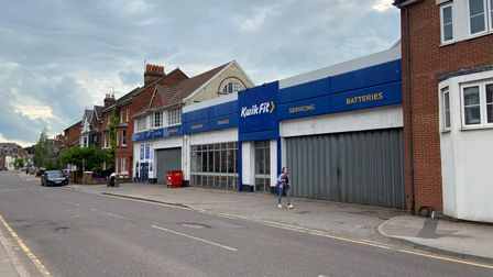 Kwik Fit on Walsworth Road, Hitchin, may be demolished to make way for 18 new apartments with10 off-road car parking spaces