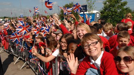 Crowds at Lister Hospital await the Queen's arrival