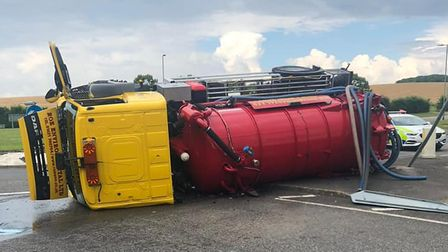 An oil tanker toppled over at Little Chesterford, Essex