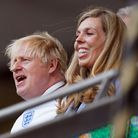 Prime minister Boris Johnson and Carrie Johnson in the stands during the UEFA Euro 2020 semi final