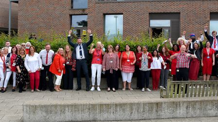 Staff atDrapers' Academy worered and white on Friday, July 9in support of England.