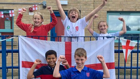 Nathan, Harry, Kristina, Alfie, Jessica from class Kenya at Clockhouse Primary School are rooting for England to win.