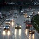 Traffic in the rain on the A406 in South Woodford