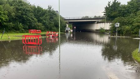 Flooding has closed the Capel St Mary A12 underpass.