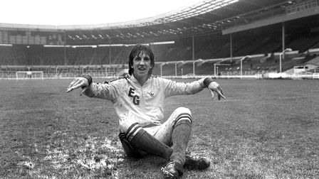 Paul Mariner on the soaking wet Wembley turf during pre-match training ahead of the 1978 FA Cup fina