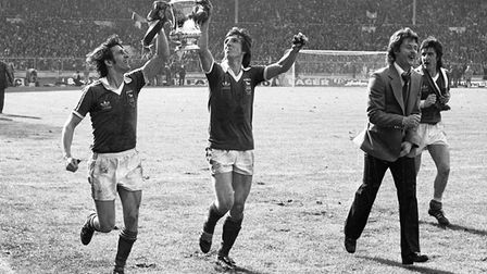 Roger Osborne, left, and Paul Mariner celebrate Town's FA Cup win in 1978. Picture: ARCHANT