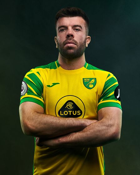 Grant Hanley wearing the new Norwich City home kit