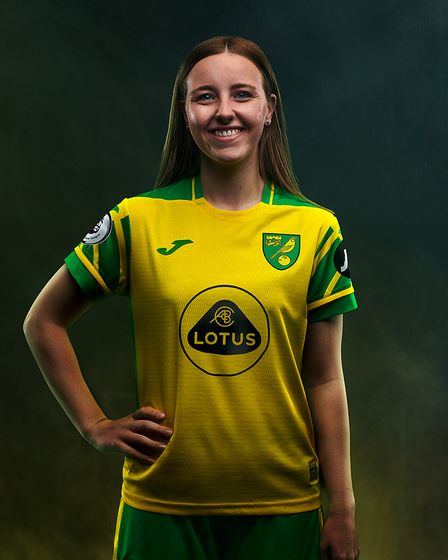 Norwich City women's player, Millie Daviss, in the new home kit