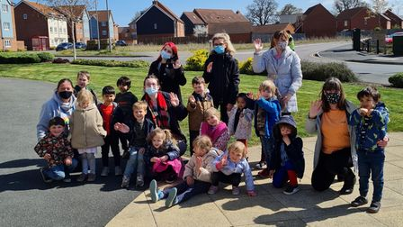 The residents of Cavell Court, in Cringleford, were visited by youngsters from Crackerjacks Pre-school