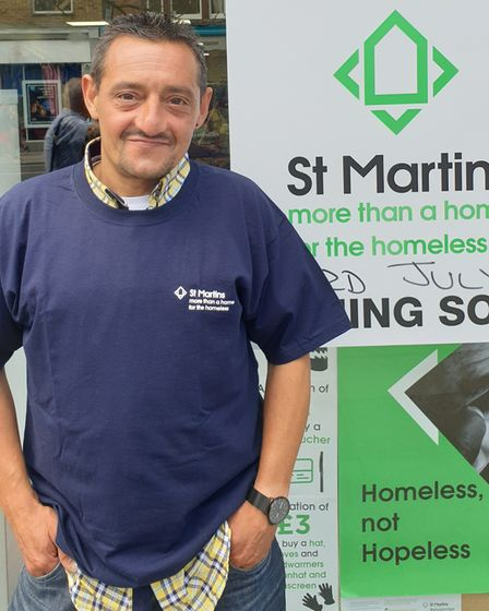 St Martins volunteer Sergio arriving for his first shift