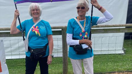 Valerie Lloyd, left, and Win Cameron flying the flag for the Honiton Carers Support Group