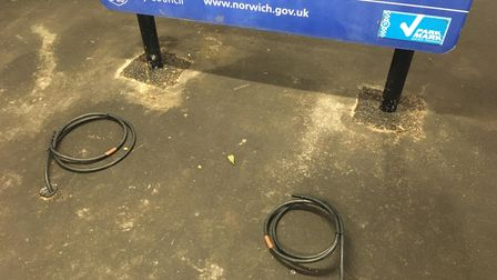 Wires in car park
