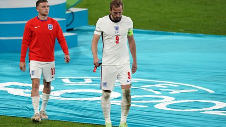 England's Harry Kane (right) and Kieran Trippier are dejected following the UEFA Euro 2020 Final at