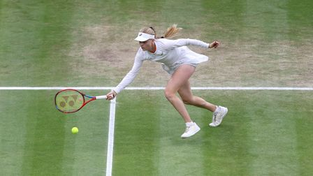 Harriet Dart in action in the Mixed Doubles Final on Centre Court on day thirteen of Wimbledon at Th