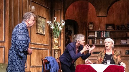 Paul Russell as Mathias, Celia Roberts as Chloe, andJan Palmer Sayer as Mathilde in My Old Lady at the Barn Theatre