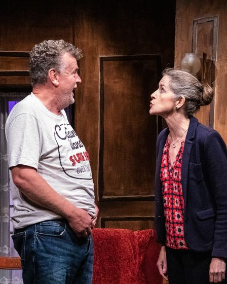 Paul Russell as Mathias andCelia Roberts as Chloé in My Old Lady at the Barn Theatre in Welwyn Garden City.