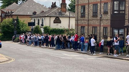 Queues of England fans outside The Mermaid in Hatfield Road ahead of the Euro 2020 final.