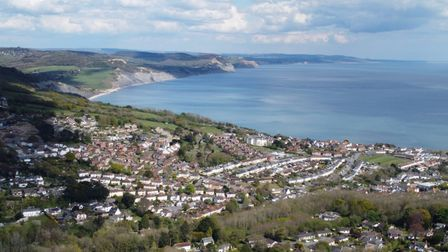 A drone image of Lyme Regis taken from the family's garden.