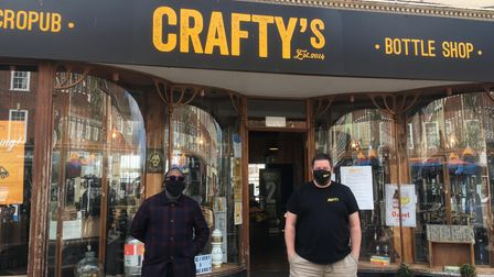 Letchworth BID manager Chris Wilson and Crafty's owner Ian Eddleman on the big reopening day, April