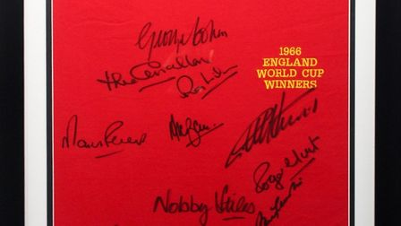 A shirt signed by members of England's 1966 World Cup-winning team is being auctioned by Brandon Rotary Club