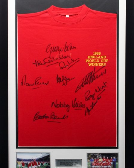 A shirt signed by members of England's 1966 World Cup-winning team is being auctioned byBrandon Rotary Club