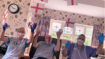 Staff and residents at the Rheola Care Home in St Ives supported England on Sunday.