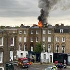 The roof of a mid-terraced property in Amwell Street was completely destroyed by the fire