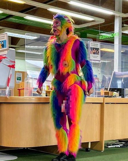 Obscene animal costume at library event