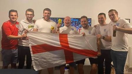 England fans cheer on team for Euro final